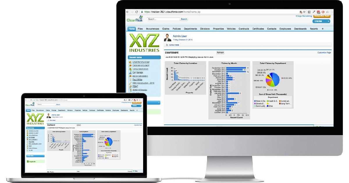 ClearRisk's Claims Management software on two computer monitors