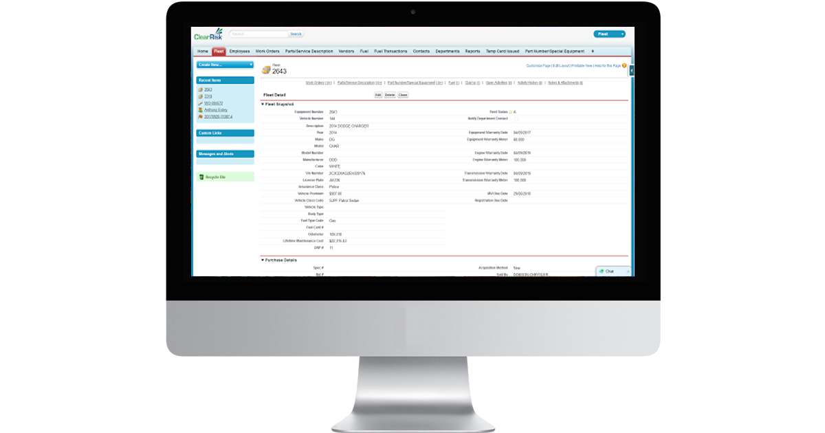 ClearRisk's Fleet Management software on a desktop monitor