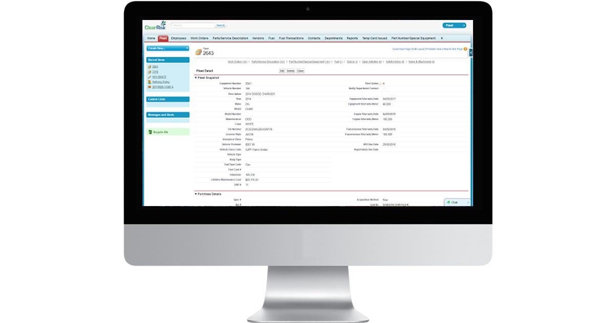 ClearRisk's Fleet Management software on a desktop monitor
