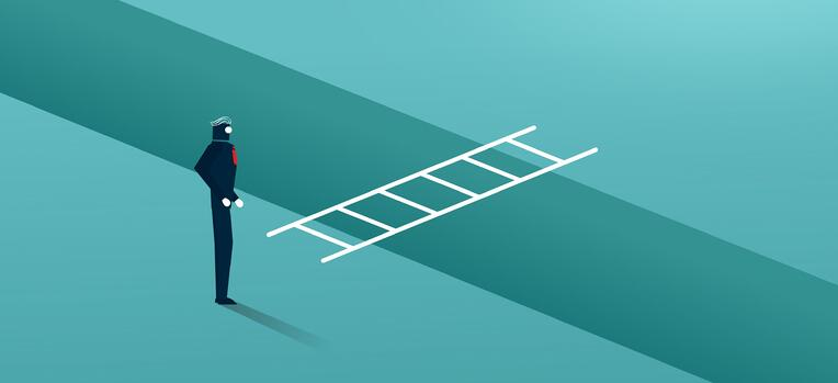 business man crossing a gap with a ladder