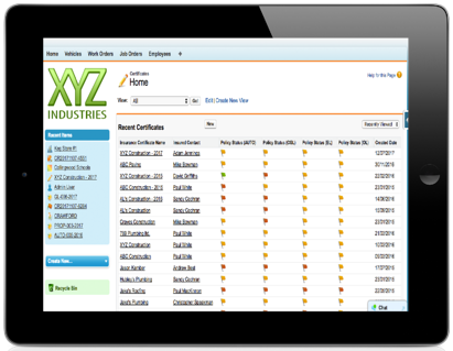 ClearRisk's Insurance Certificate Management software on a tablet