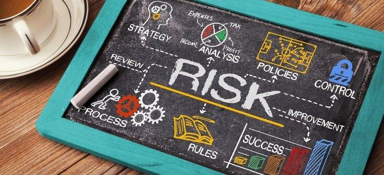 elements of risk written on a chalkboard
