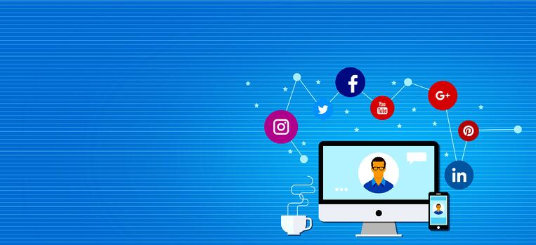 using social media on a computer and phone