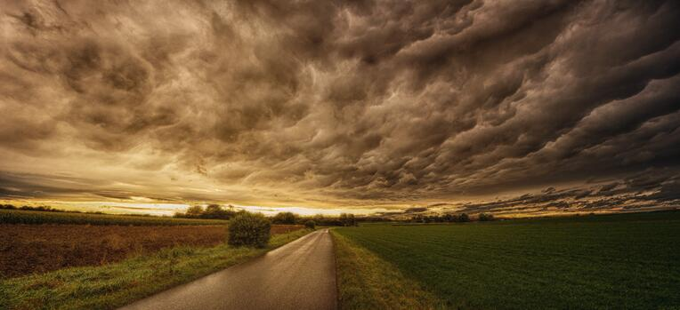 storm clouds on countryside