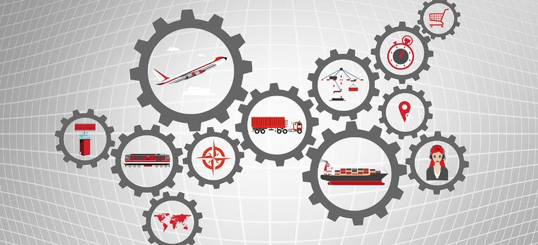 elements of a supply chain in gears